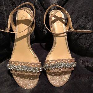 Badgely Mischka Rose Gold Wedge Sandals